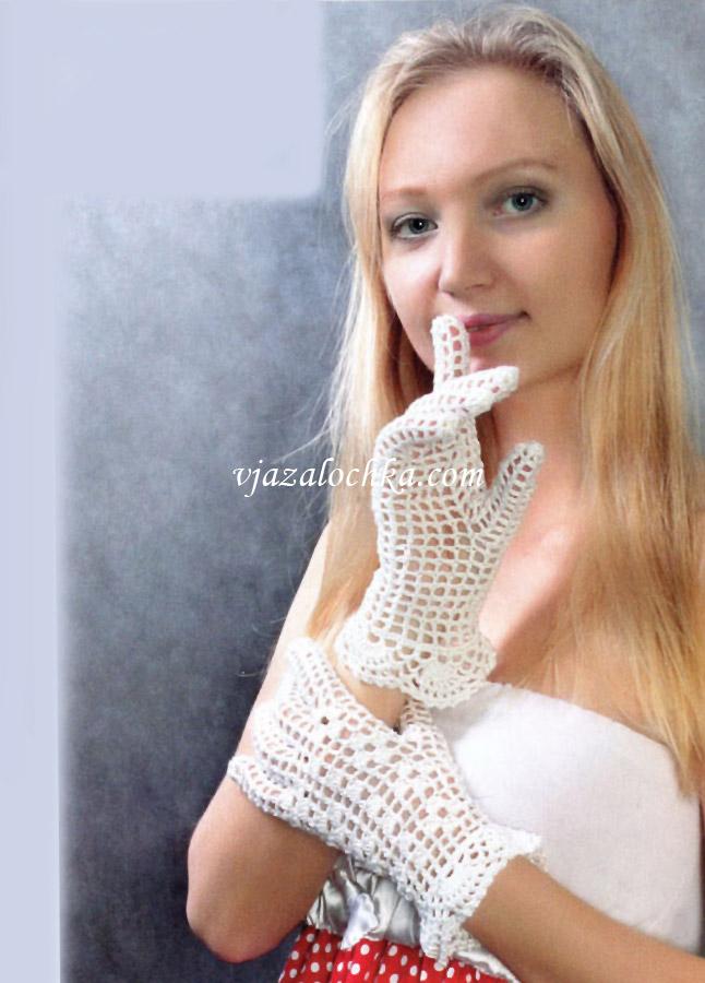 Ажурные перчатки с филейным