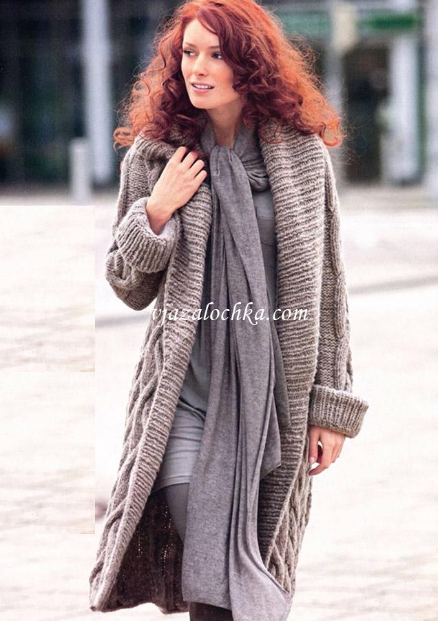 Длинное пальто из узора с