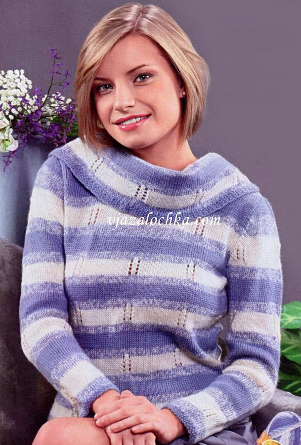 Полосатый свитер с воротником хомут.