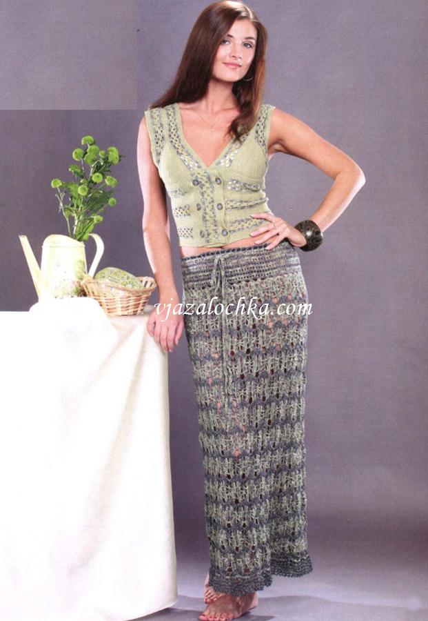 Длинная юбка с ажурным узором
