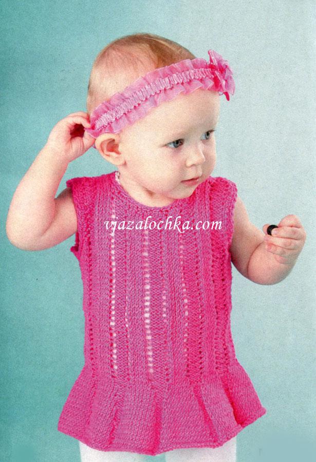 Фото о моде: Вязаные детские сарафаны спицами