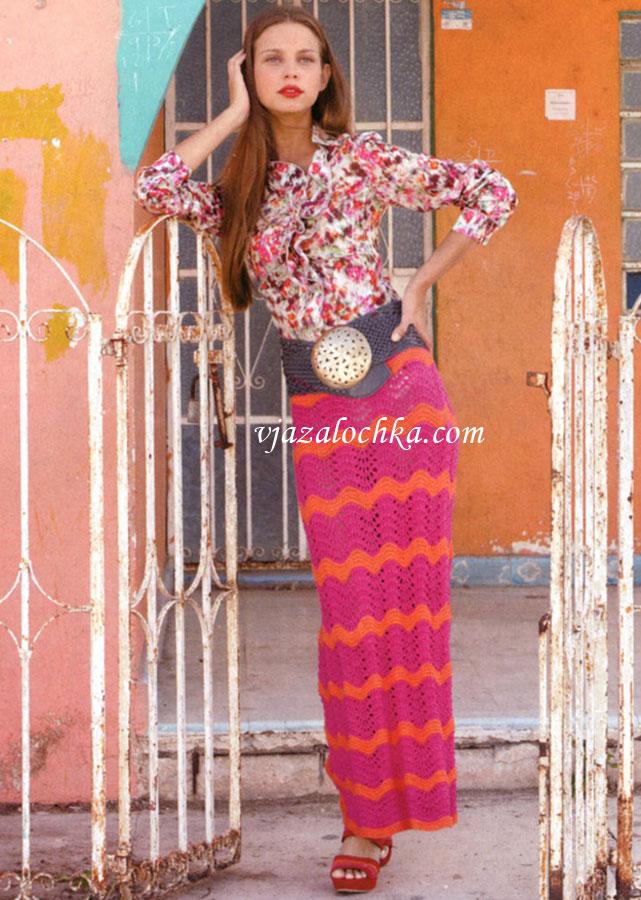 Фото: длинная свободная юбка с принтом и вязаная от Victoria's Secret