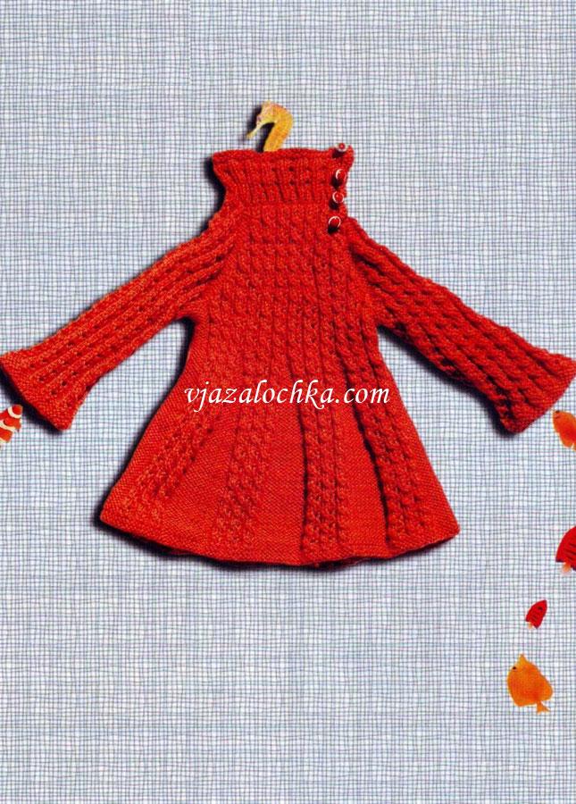 Вязание платья для девочки спицами реглан
