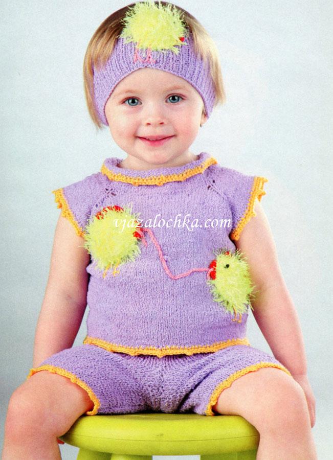 Описание: вязание спицами зимней туники для девочки 2 года.