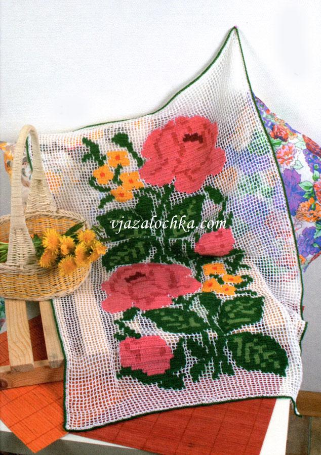 Цветная салфетка с филейным узором
