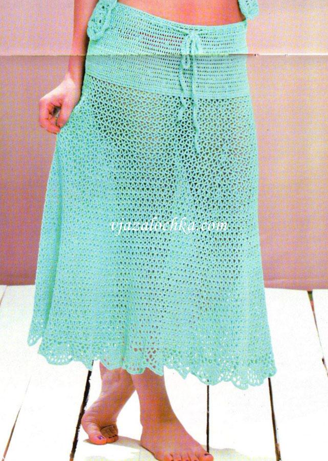 Бирюзовая длинная юбка