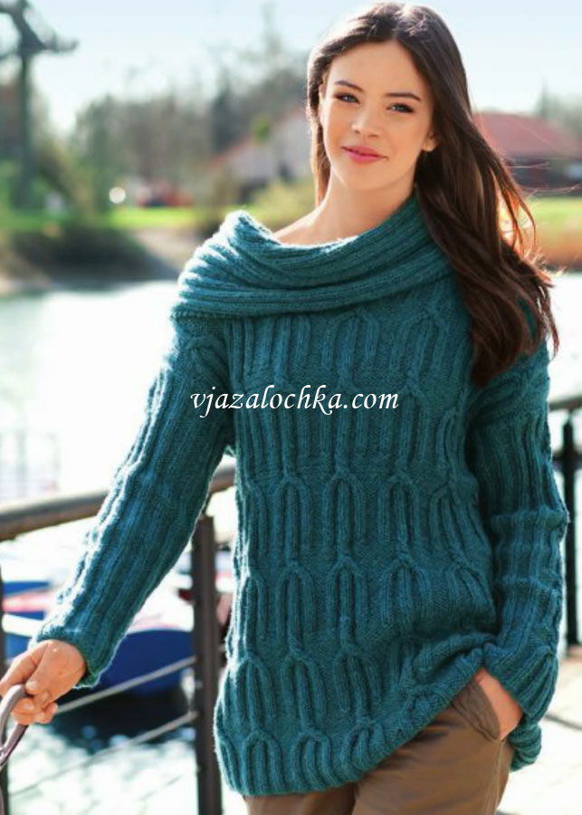 Пуловер со съемным воротником-