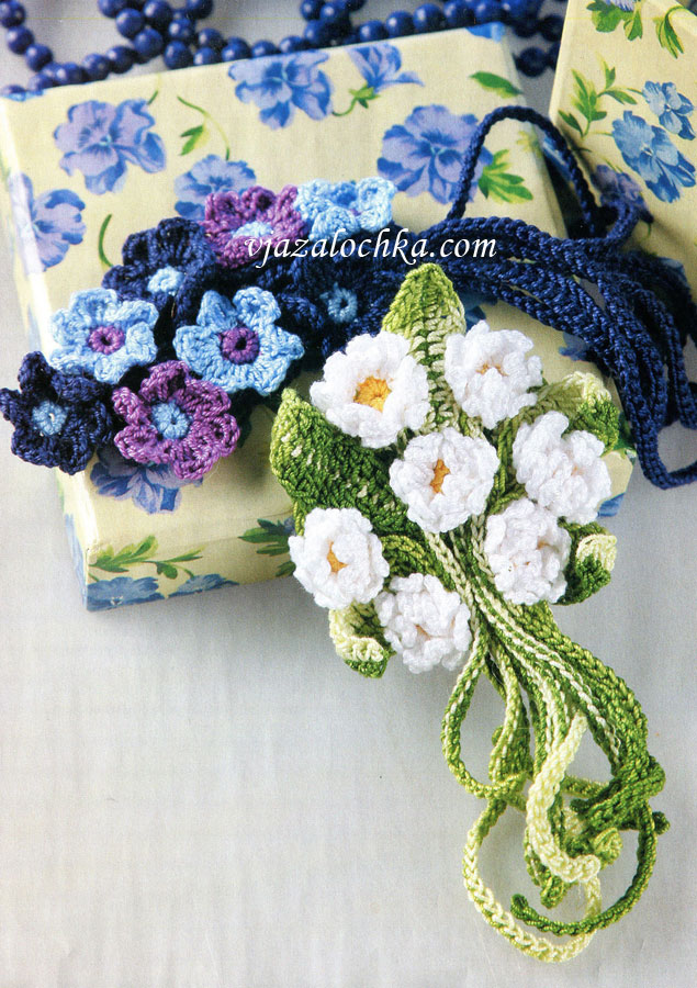 Вязаные букетики из цветов