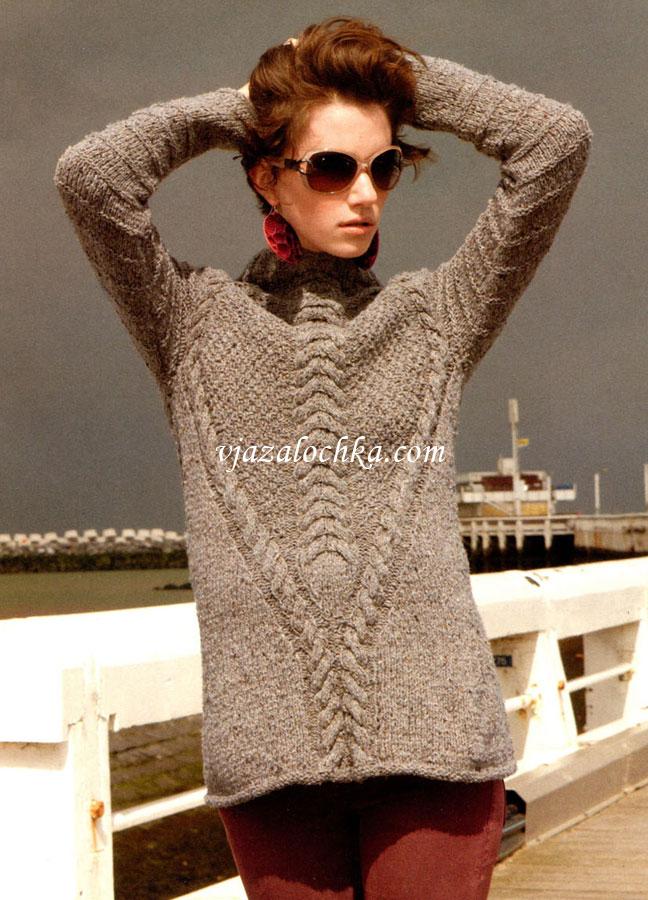 длинный свитер с узором косы