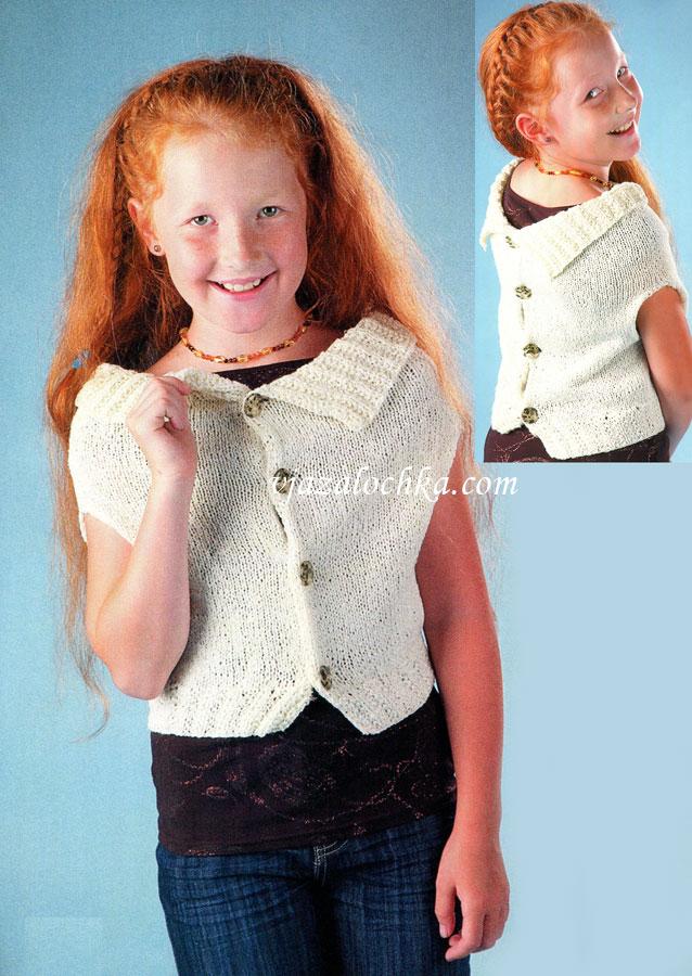 Вязание для девочек спицами жилет