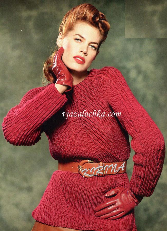 Бордовый пуловер реглан в