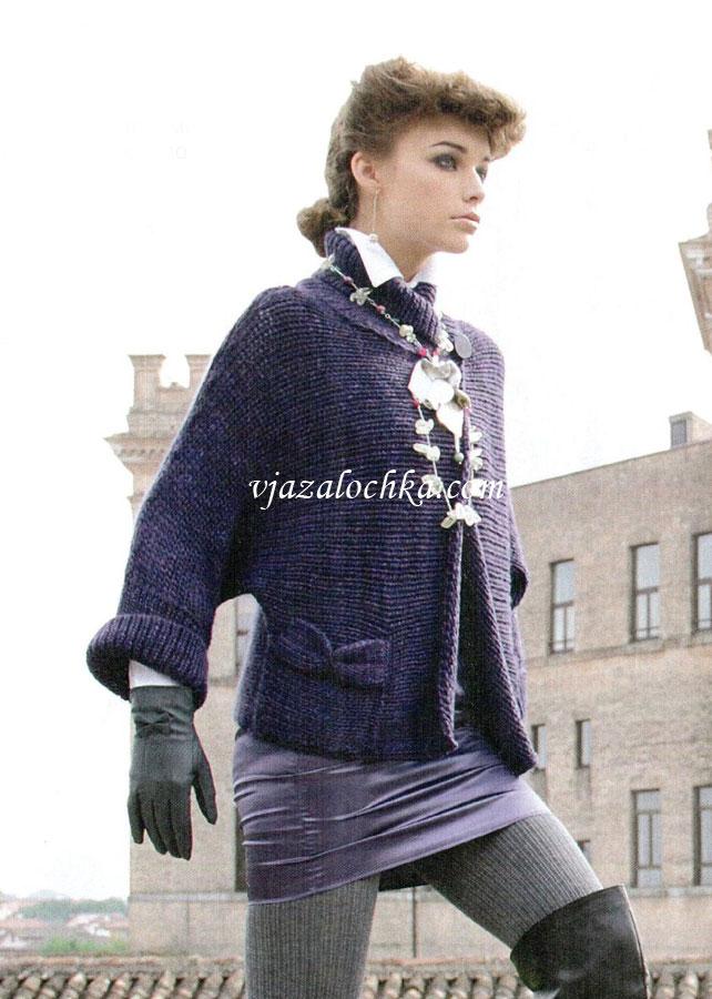 Жакет с рукавами кимоно и карманами