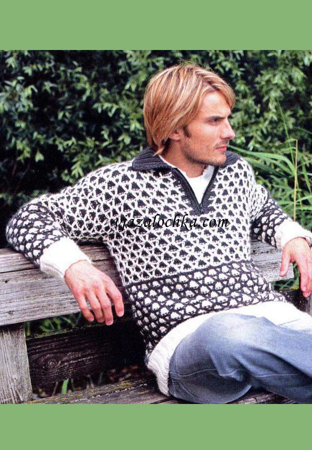 Вам потребуется: 450 (500) г белой...  Пуловер связан спицами.  Узор из сот выглядит эффектно в любом случае...