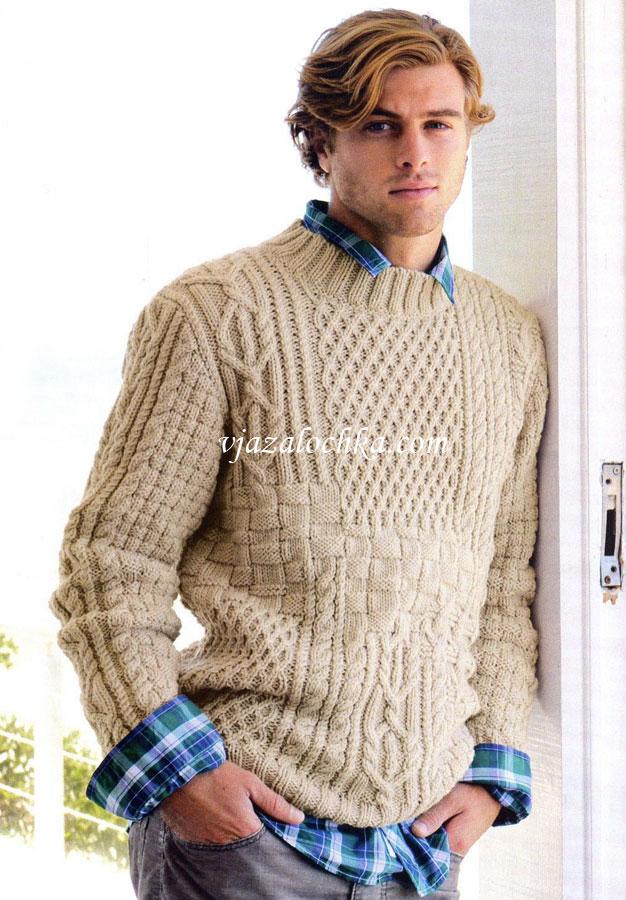 Бежевый пуловер с ирландским