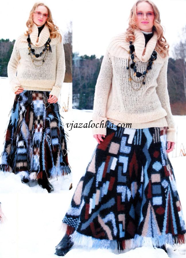 Длинная юбка с клиньями и кистями