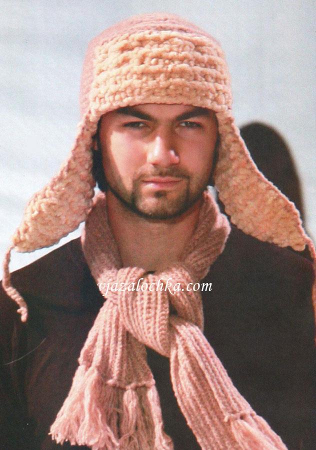 Мужская шапка-ушанка (вязание