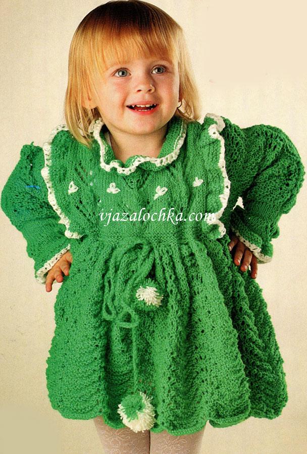 Платье для девочки вязаная спицами узоры