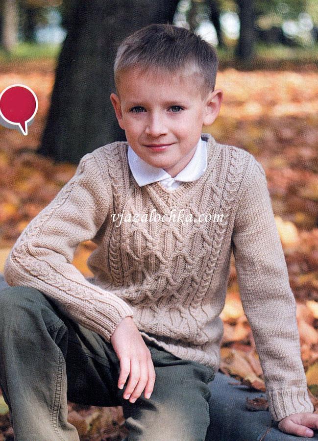 Узорчатый пуловер на мальчика
