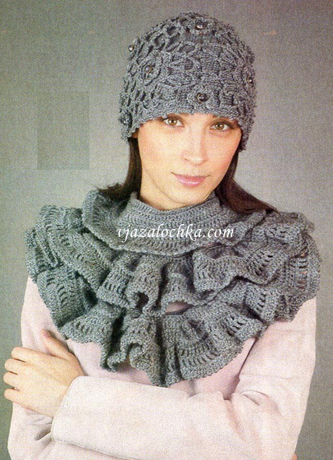 Шапочка и шарф с оборками