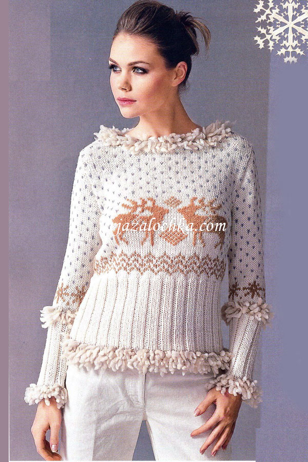Вязаный свитер с вышивкой олени