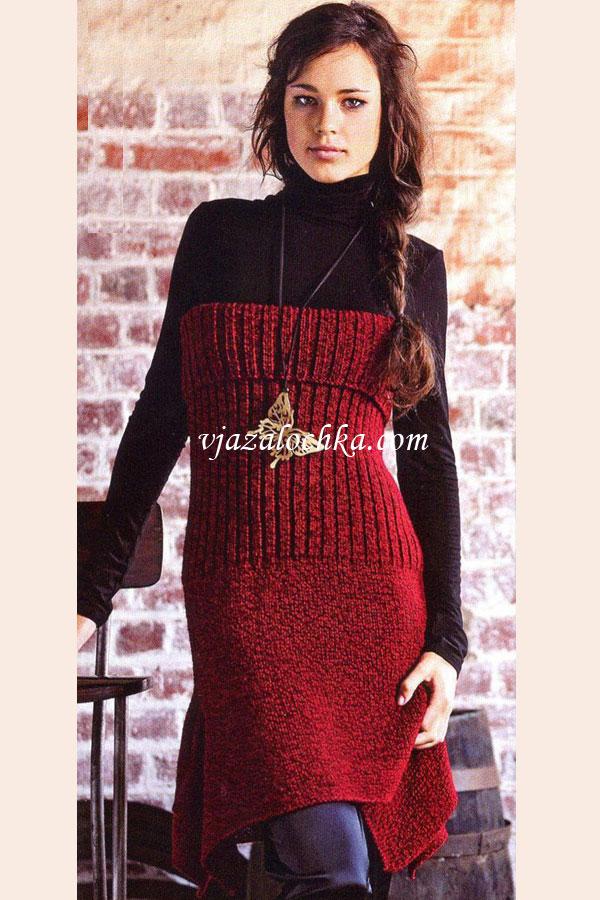 Платье-бюстье вязаное спицами