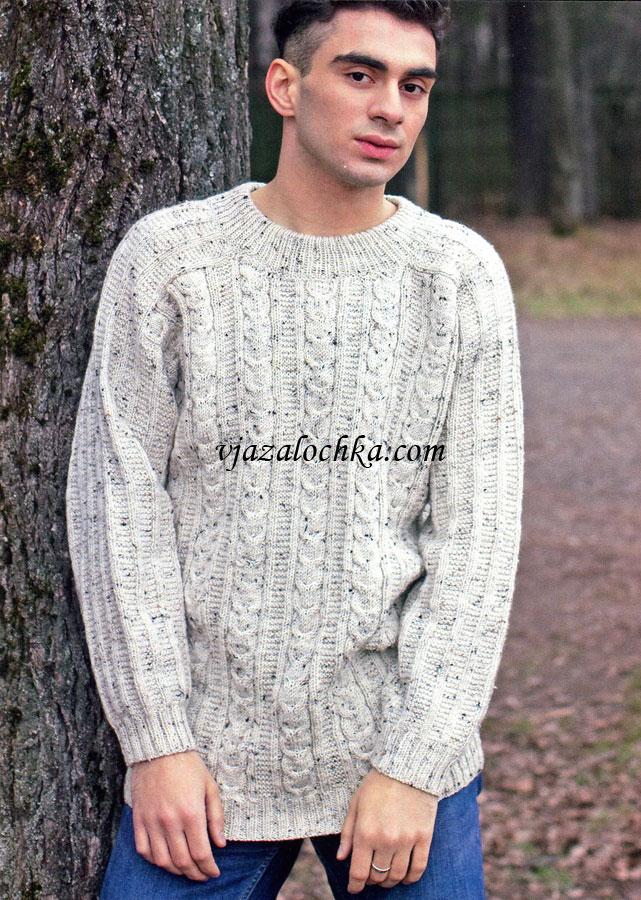 11dc98cd268a0 Мужской свитер связан спицами.