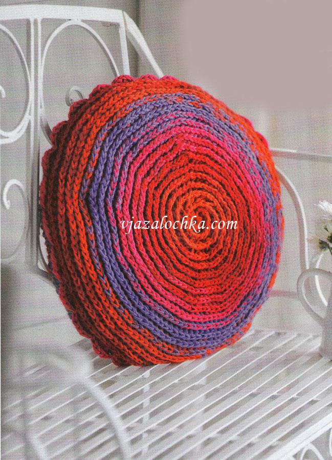 Круглая подушка - вязание