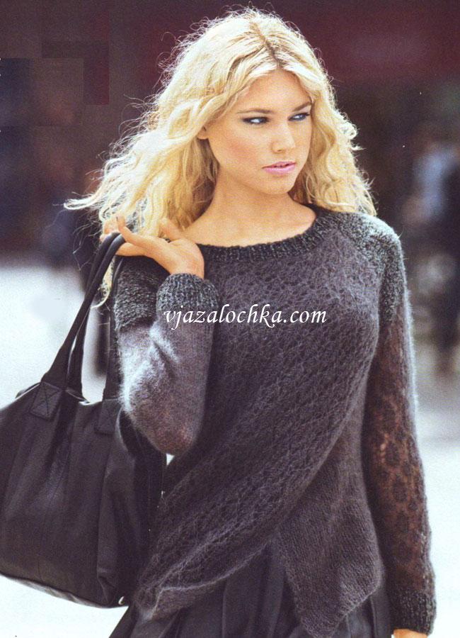 Пуловер реглан с эффектом запаха