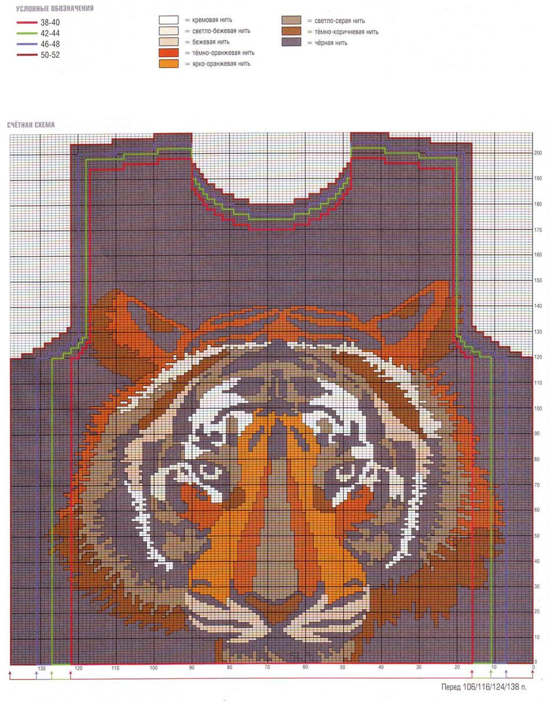 Схемы орнаментов с тиграми для вязания спицами