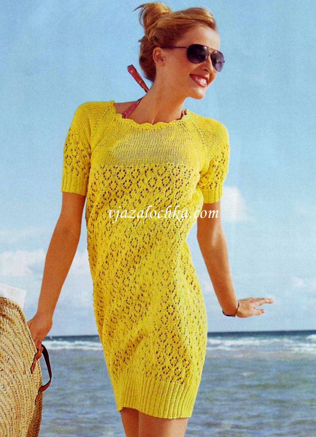 Платье-баллон с ажурным узором
