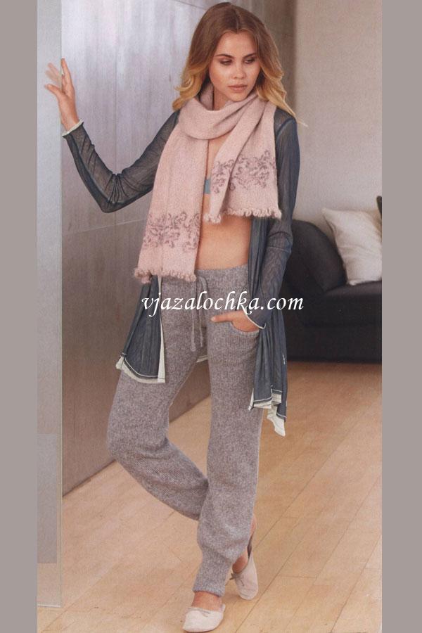 Женские брюки вязаные спицами