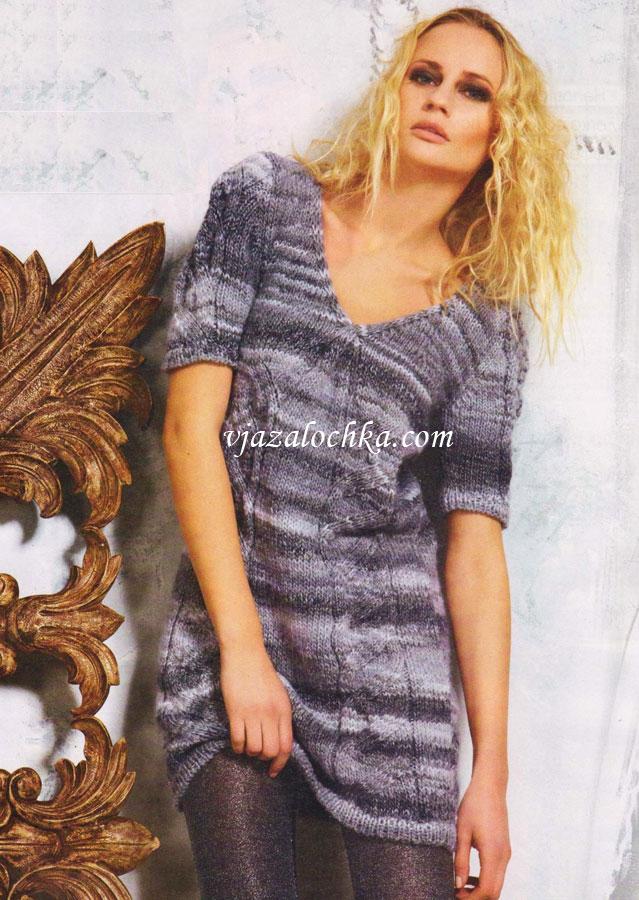 Женские платья и туники связанные спицами