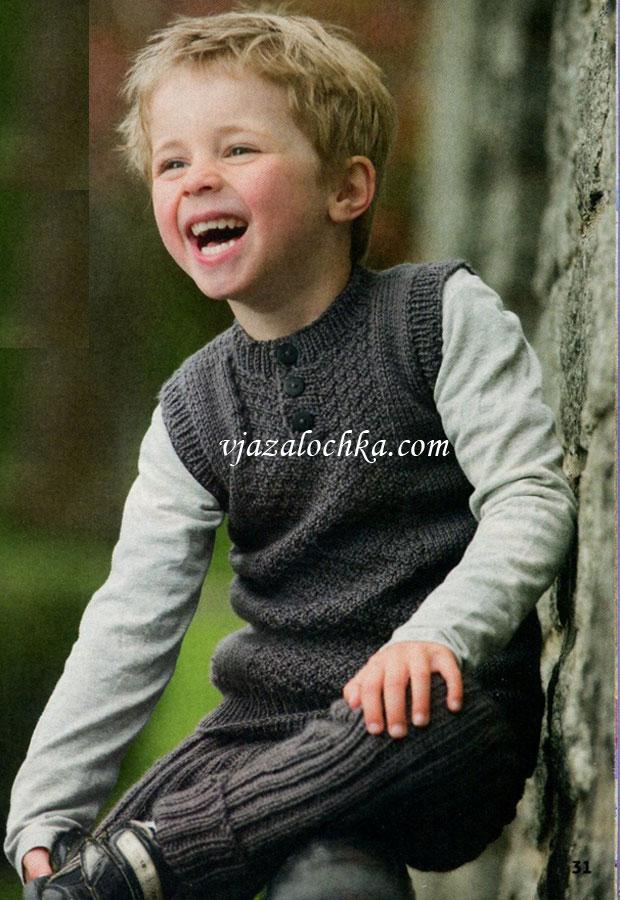 Жилет с пуговицами и штанишки для мальчика, вязаные спицами