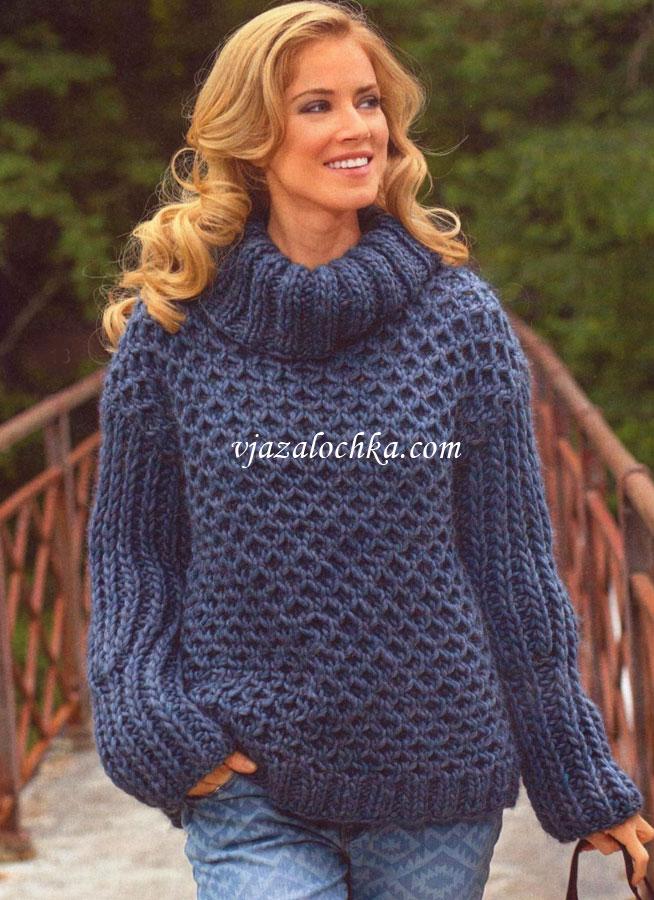 Вязание спицы свитер из толстой пряжи