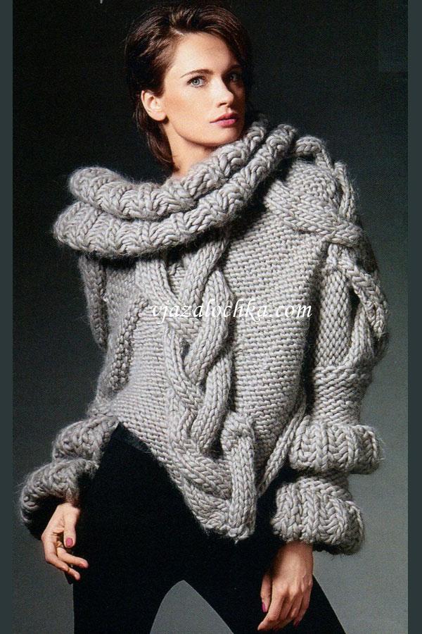 вязаный свитер из толстой пряжи спицами