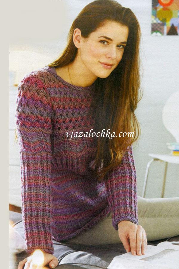 вязаный пуловер из секционной пряжи