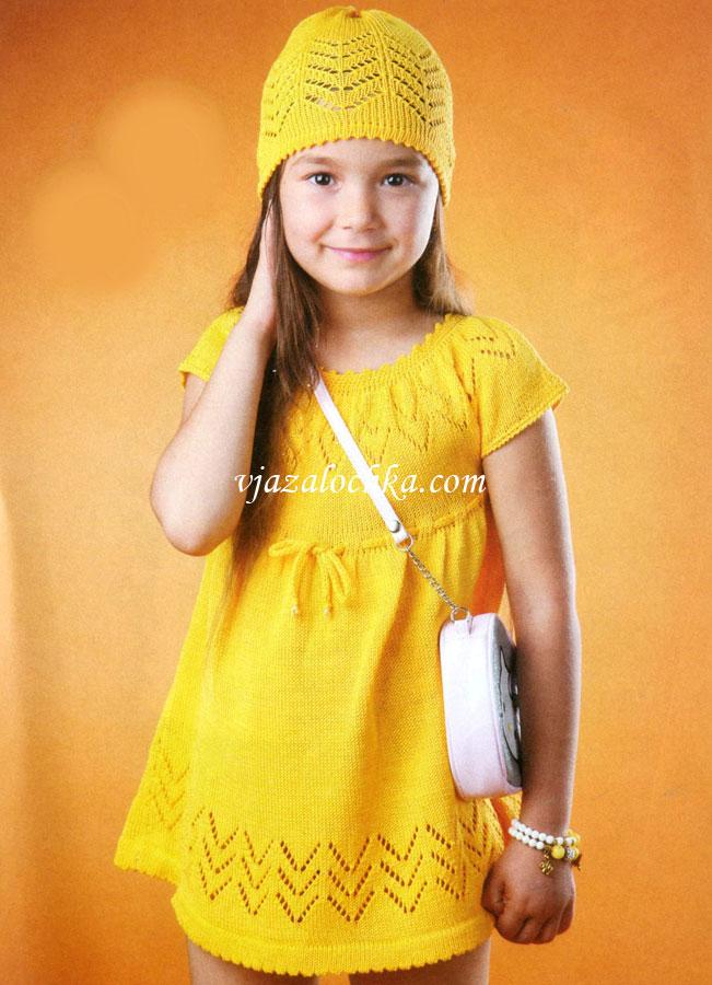 вязание спицами платье для девочки азбука вязания