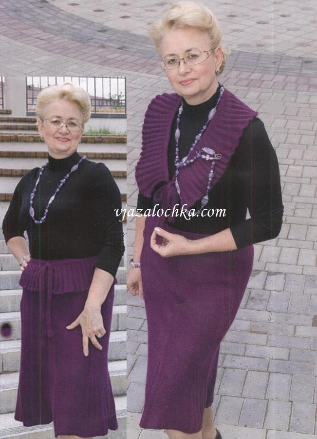 Длинная юбка-годе с баской