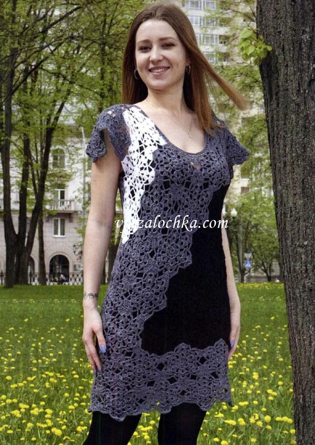 Женское платье вязанное крючком мотивами