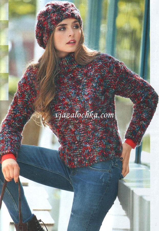 Вязаный женский пуловер с капюшоном
