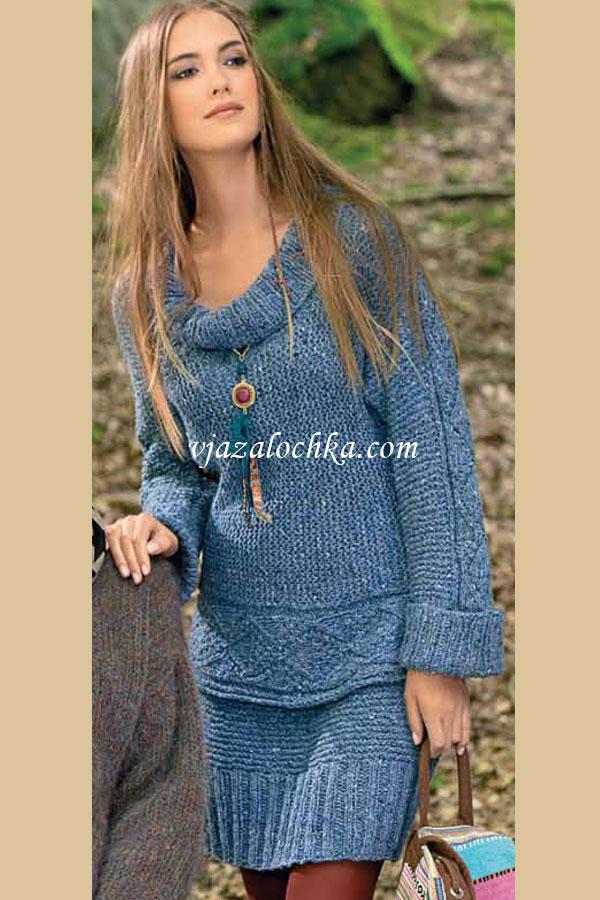 Женский костюм: пуловер и юбка