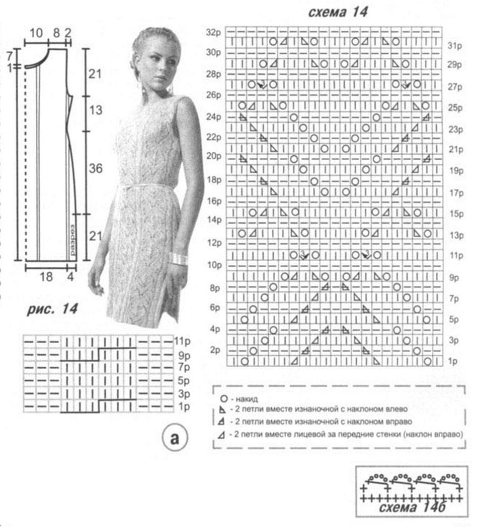 Вязание ажурных платьев спицами со схемами 139