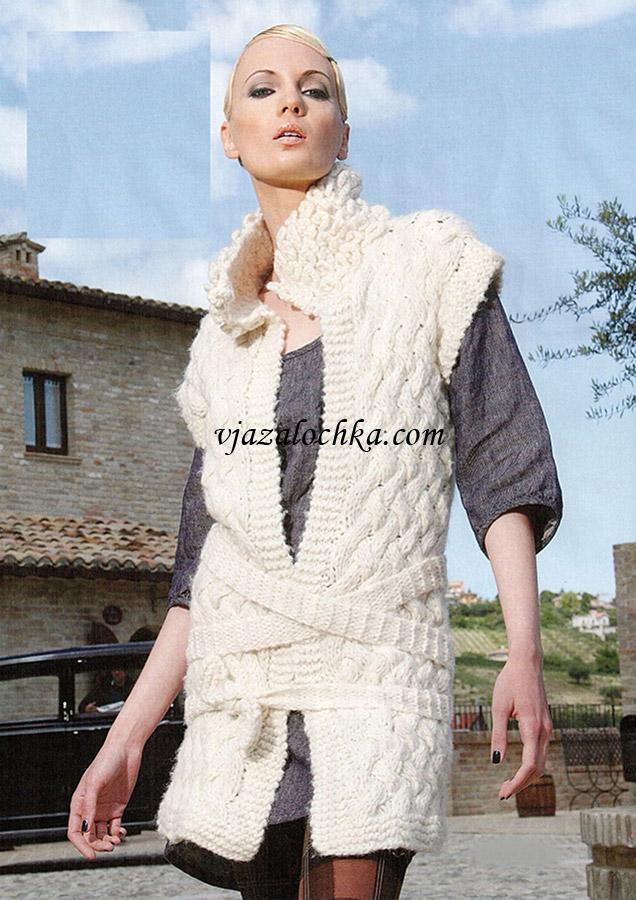 Удлиненный жилет с поясом