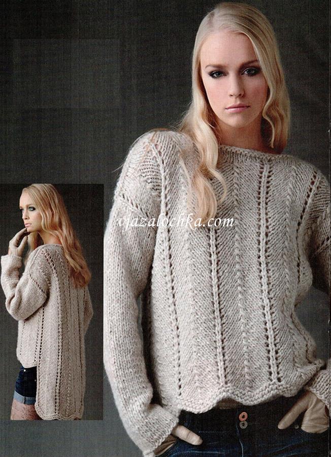 пуловер с вырезом-лодочка