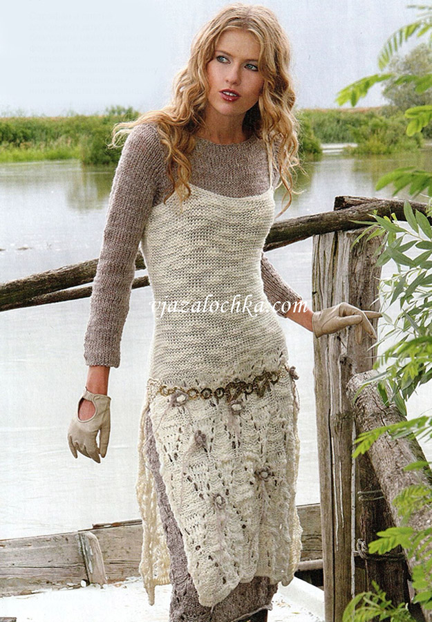 Вязание крючком платья теплые
