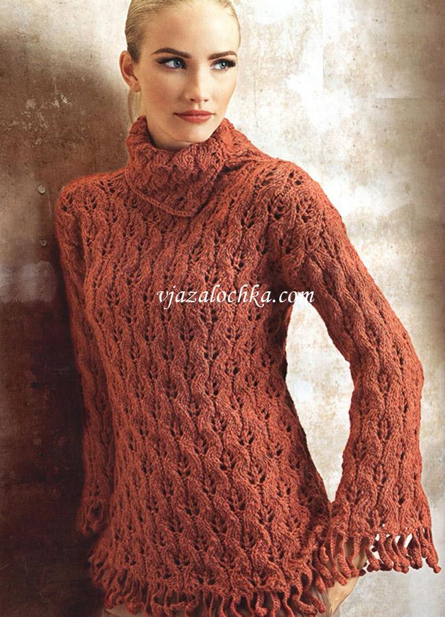 Рельефный свитер с ажурным