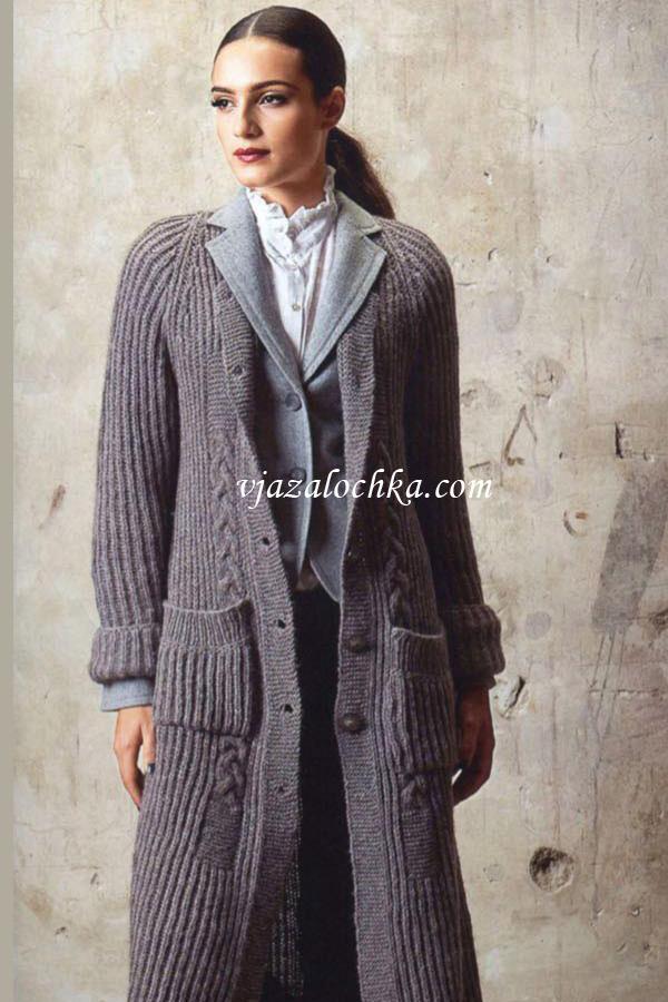 Длинное пальто-реглан с