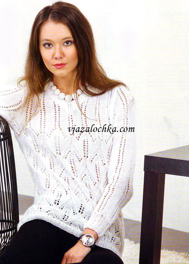 Ажурный пуловер с V-образным