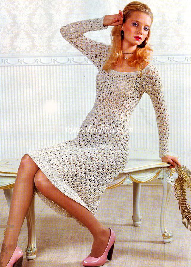 Ажурное платье с рукавами