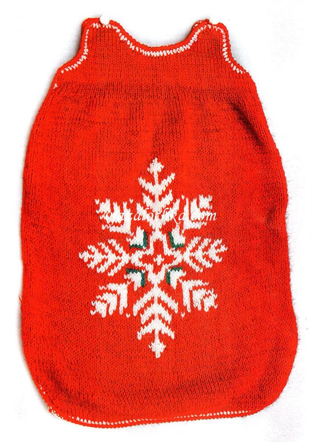 Конверт для малыша связан спицами жаккардовым узором Снежинка